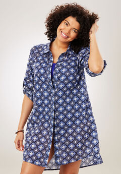 Button-Front Swim Coverup, NAVY WHITE GEO, hi-res