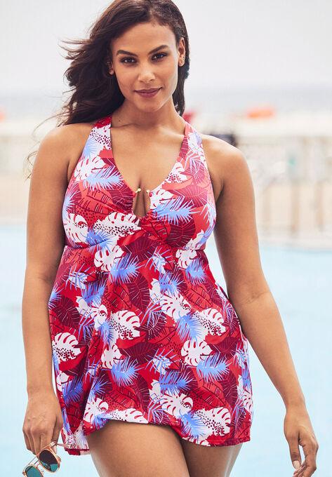 0e796a6e665 Keyhole H-Back Swimdress| Plus Size Swimwear | Woman Within