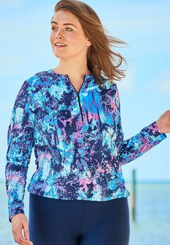Zip-Front Long Sleeve Swim Tee with Contrast Zipper, BLUE PINK ABSTRACT