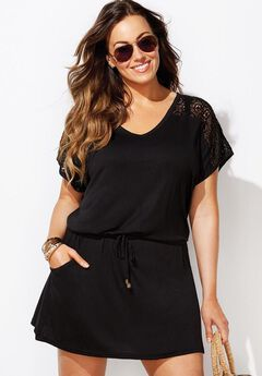 Emmie Crochet Cover Up Tunic, BLACK