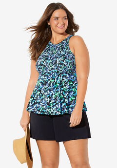 Smocked High-Neck Tankini Top by Fit 4 U™,