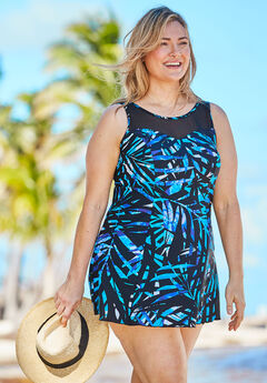 Mesh-Trim Swim Dress,