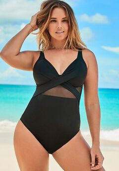 Cut Out Mesh Underwire One Piece Swimsuit,