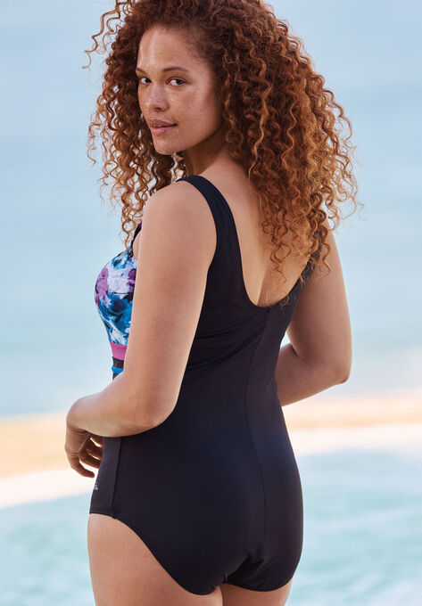 3fc33d8794e Empire-Waist Swimsuit with Molded Bra| Plus Size One Piece Swimsuits ...