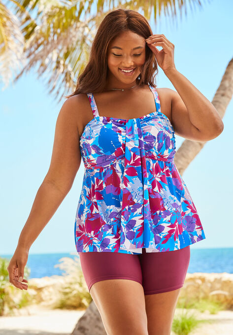 3aeb6070539 Flyaway Tankini Top with Bust Support| Plus Size Tankini Tops ...