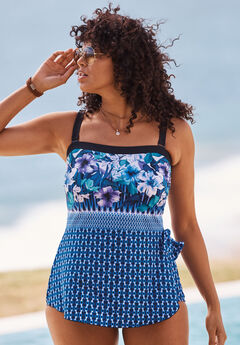 Bandeau Sarong One-Piece by Maxine of Hollywood, BLUE FLORAL BORDER, hi-res