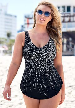 Dotted Sarong Front One Piece Swimsuit,