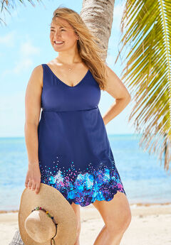 Floral Border Swimdress With Tummy Control,