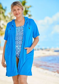 Hooded Terry Swim Coverup with Side Slits,