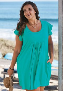 Box pleat swim cover-up,