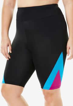 Colorblock Swim Shorts, BLACK FUCHSIA TURQ, hi-res
