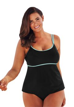 Fit-And-Flare Tankini Top by Beach Belle, BLACK MINT, hi-res