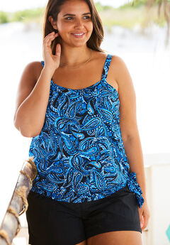 Blouson Tankini Top, BLUE PAISLEY, hi-res