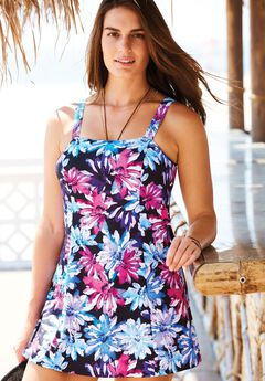 Princess-Seam Swimdress, BLACK MULTI, hi-res