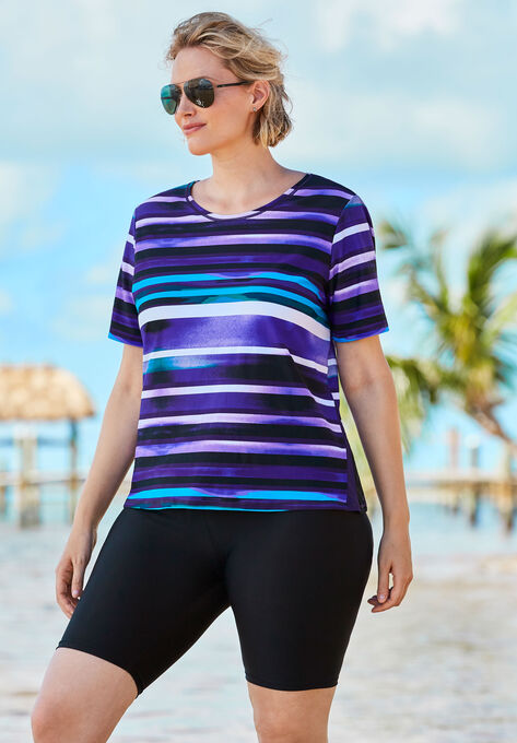 65197179bf356 Colorblock Swim Tee with Sun Protection| Plus Size Swim Tops | Woman ...