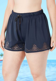 Laser-Cut Swim Short with Tummy Control,