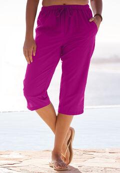 Taslon® Capri Pants, BRIGHT FUCHSIA, hi-res