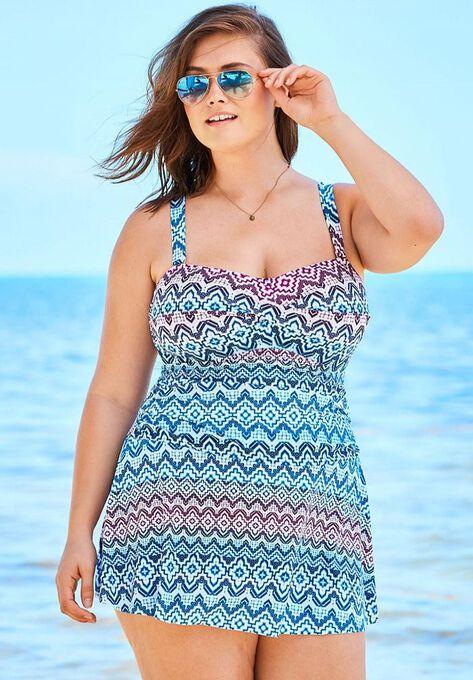 981a76832b Twist-Front Swimdress with Twist Detail| Plus Size Swim | Woman Within