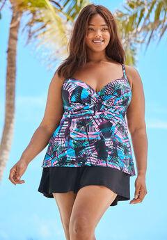 Wrap Swim Tankini Top in Bra Sizes, MULTI COLOR ABSTRACT