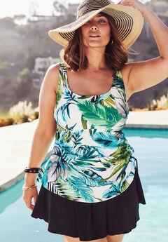 Adjustable-Side Tank Swimdress by Maxine of Hollywood , WHITE PALM LEAF, hi-res
