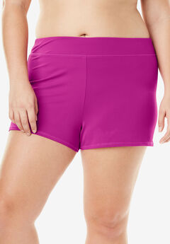 Wide-Band Swim Short, BRIGHT FUCHSIA, hi-res
