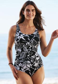 Tank One-Piece Swimsuit, BLACK WHITE PRINT, hi-res