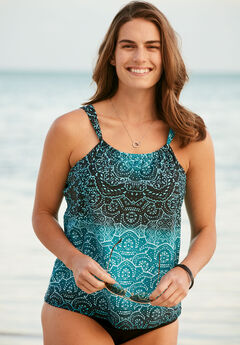 Gathered-Neck Tankini Top, BAHAMAS GEO, hi-res