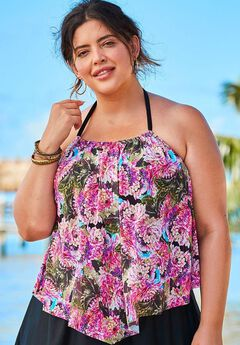 High-Neck Mesh Tankini Top,