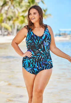 bb72177523 Sarong-Front One-Piece Swimsuit by Beach Belle