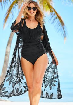 Open-Front Embroidered Coverup with Wide Sleeves,