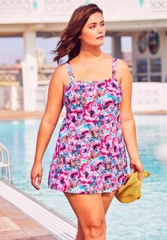 Princess-Seam Swimdress with Brief, PATCHWORK FLOWERS
