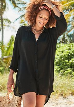 Shea High-Low Button Front Cover Up Shirt, BLACK
