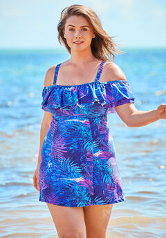 Off-The-Shoulder Ruffled Swim Dress,