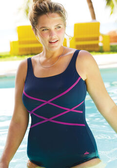 Aquabelle Criss Cross Maillot, NAVY BERRY