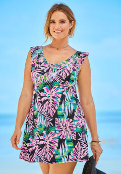 Ruffle Neck Swim Dress,