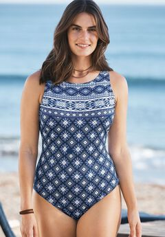 High-Neck Maillot Swimsuit,