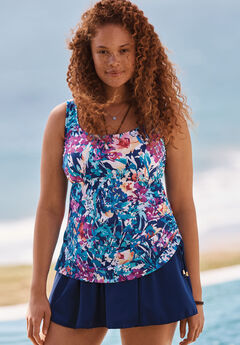 Adjustable-Side Tank Swimdress by Maxine of Hollywood , MULTI FLORAL, hi-res