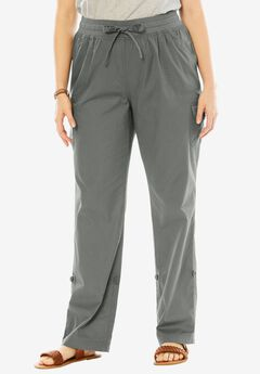 Woman Within® Pants with Convertible Length, OLIVE GREY, hi-res