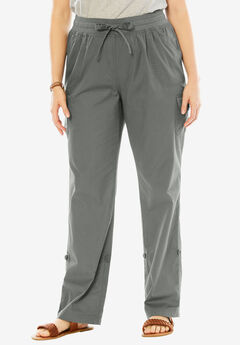 Woman Within® Pants with Convertible Length, OLIVE GREY