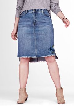 Step Hem Denim Mini Skirt by Chelsea Studio®,