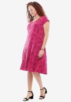 Travel Mixer Dress, RASPBERRY SKETCH FLORAL, hi-res