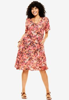 Short Crinkle Dress, FLAMINGO PINK LAYERED FLORAL