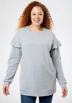 Ruffle Sleeve Accent Sweatshirt, HEATHER GREY, hi-res
