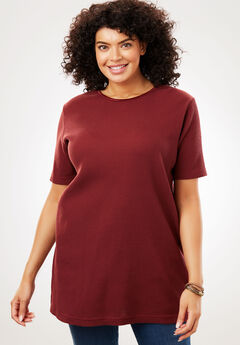Satin-Trimmed Crewneck Thermal Tee, ANTIQUE MAROON