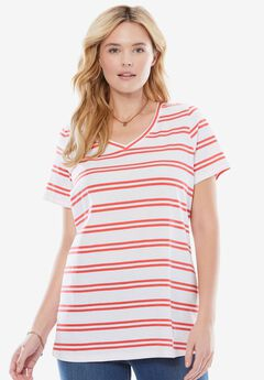 Perfect Printed V-Neck Tee, CORAL RED DOUBLE STRIPE, hi-res