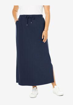 Sport Knit Side-Slit Skirt, NAVY