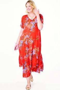Crinkle Dress, SAHARA ORANGE BOUQUET
