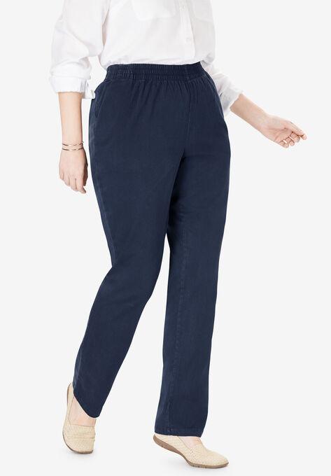 Elastic-Waist Straight Leg Chino Pant| Plus Size Pants | Woman Within