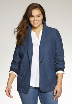 Shawl-collar denim blazer, INDIGO WASH, hi-res