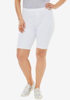 Knit Denim Bermuda Shorts, WHITE, hi-res